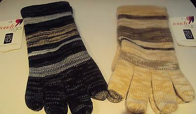 Womens Touch Go Brand Black Brown Gray Shades Knit Gloves Touchscreen Compatible