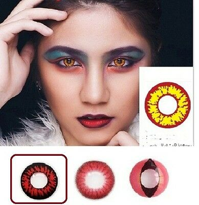 Halloween Crazy Red Coloured Contacts Lenses Cosplay Free Lens Case LENTILLES