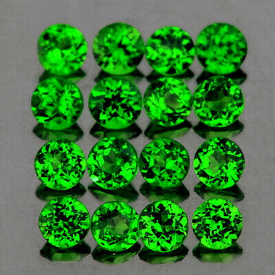 2.5mm ROUND 16 PIECES UNHEATED CHROME GREEN DIOPSIDE NATURAL GEMSTONE [FLAWLESS]