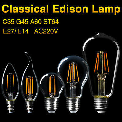 E27 E14 LED Lights Filament COB Edison Bulbs Energy Saving Glass Lamp 220V 4-16W
