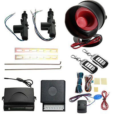 Car 2x Door Remote Control Central Entry Locking Kit Alarm Siren Security System