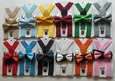 CHILDRENS/KIDS/BOYS BRACES & MATCHING PLAIN OR TWO TONE BOW TIE SETS- Many Cols