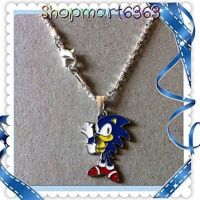 "Sonic The Hedgehog ENAMEL CHARM WITH 16.5"" SILVER PLATED SNAKE CHAIN/NEW"