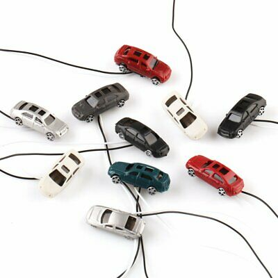 10pcs Model Cars w Lights Train Street Parking Diorama Scenery Z Scale 1:200