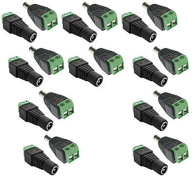 10 pairs Male Female AC/DC Jack Plug Connector Adapter Led Strip Light 5.5x2.1mm