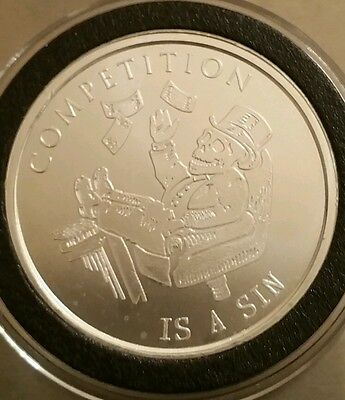 1 oz .999 Silver shield Competition is a sin federal reserve debt death skull