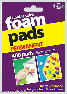 400 Double Sided Foam Pads - Sticky Permanent Fixers Adhesive Stickers