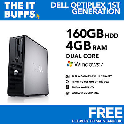 Dell Optiplex - Dual Core 4GB RAM 160GB HDD Windows 7 - Desktop PC Computer