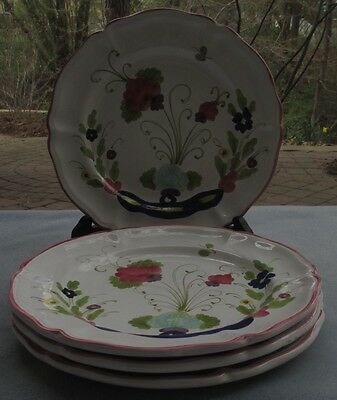 Set of 4 Horchow Hand Painted Poppies Floral Dinner Plates Italy - New W Label
