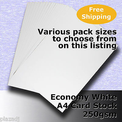 Economy Card Stock WHITE A4 Size 250gsm #H5308