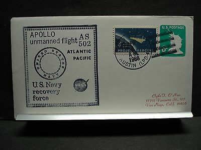 USS AUSTIN LPD-4 Naval Cover 1968 SPACE APOLLO AS-502 Cachet RECOVERY Force