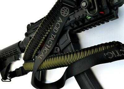 Tactical 550 Paracord Rifle Gun Sling Single Point Airsoft - Green / Black 34""
