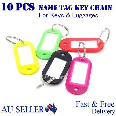10pcs Mix Colours Plastic Key Ring Tags Name Tag Keyring Keychain Luggage Tags