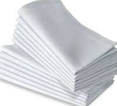 "COTTON PLAIN WHITE CASUAL VALUE NAPKINS SIZE 18X18""(46x46cm) HEMMED,3 PACK SIZES"