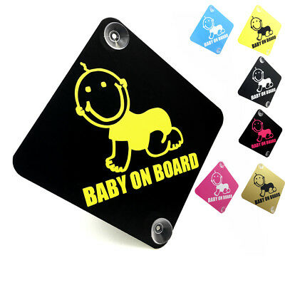 BABY ON BOARD - Cute Smiling Baby - car window sign with suction cups