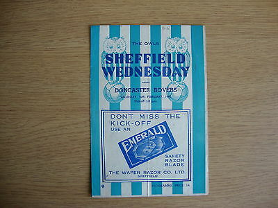 1944/5 Sheffield Wednesday v Doncaster Rovers - Wartime Football Lge - EXCELLENT