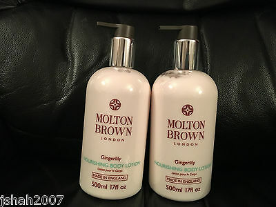 Molton Brown 2 x 500ml Gingerlily Nourishing Body Lotion BRAND NEW *LOOK*