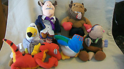 Set Of Six Meanie Babies, Bull Clinton, Mike Bison, Velocicrapper