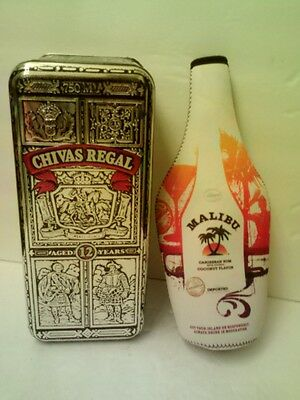 CHIVAS REGAL WHISKY TIN ++ MALIBU RUM INSULATED CARRIER - Nice!  >FAST SHIPPING