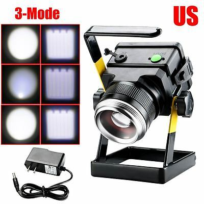 Portable Outdoor White LED Floodlight Rechargeable Work Light 30W+Power Adapter