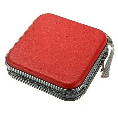 RED CD Dvd 40 Disc Case Cover Wallet Holder Plastic Bag water resistant Organize