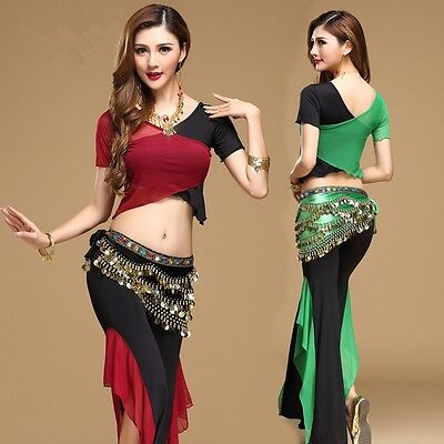 Siamese blouse with Pants 3 pcs set Belly Dance Yoga practice clothing Costume