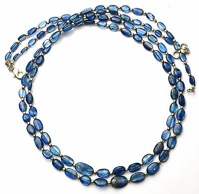 """Natural Gem Kyanite 6x4 to 13x9MM Smooth Nuggets 130Cts. Finished Necklace 23"""""""