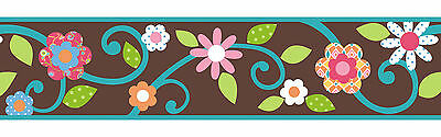 RoomMates Scroll Floral Peel & Stick Border - Brown/Teal Free Shipping N