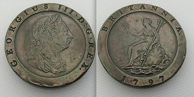 Collectable 1797 2nd Issue Copper Soho Mint Two Pence Coin Of George III