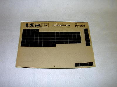 Kawasaki Kl250 Kl 250 D4 (Klr250) Gen Part Catalogue Microfiche