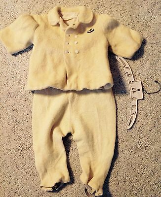 Vintage Yellow Wool 2T Toddler Swing Coat & Snow Pants 1955 Winter Outfit