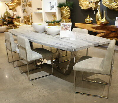 """118"""" L Dining table reclaimed barn wood Set of 8 chairs canvas stainless steel"""