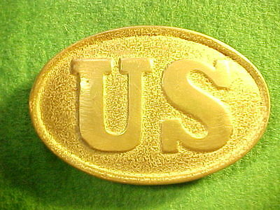 Older Repro Oval Us Belt Buckle Solid Cast Brass