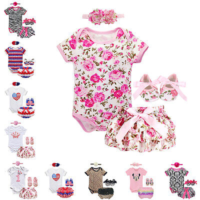 4PCS Baby Girl Romper Jumpsuit Headband Outfit Pants Shoes Toddler Clothes 0-18M