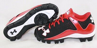 NEW Kids Youth UNDER ARMOUR UA Leadoff Low Red Baseball Softball Cleats Shoes