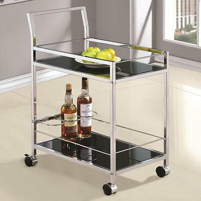 Modern Rolling Chrome Serving Cart with Black Tempered Glass by Coaster 910132
