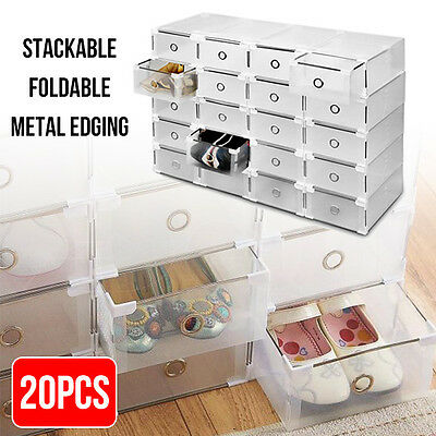20pcs Clear Shoe Drawer Storage Cases Stackable Foldable Boxes Wardrobe AU Stock
