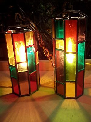 Stained Glass Leaded Light Chandelier Lamp Antique Vintage Old Retro Furniture