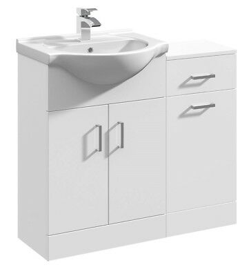 900mm High Gloss White Bathroom Vanity Basin Sink Cabinet & Laundry Furniture