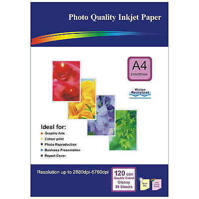 20 Sheets of Double-sided A4 120gsm High Quality Glossy Photo Paper for Inkjet