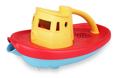 GreenToys DAMPFSCHIFF Dampfer rotes Deck, Spielzeugboot Kinderboot tugboat Boot