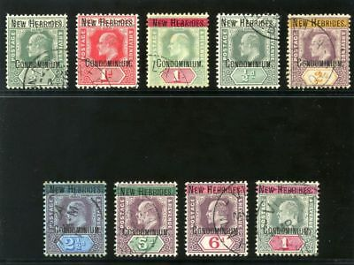 New Hebrides 1908 KEVII set complete very fine used. SG 1a-9. Sc 1-9.
