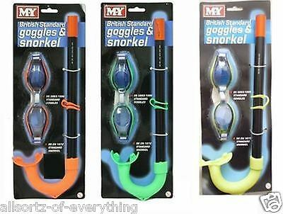 KIDS CHILDRENS -  M.Y British Standard Snorkel & Goggles Set Green Yellow