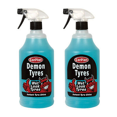 2 x Carplan Demon Tyres Instant Wet Look Tire Shine Dressing Cleaner Polish 1L