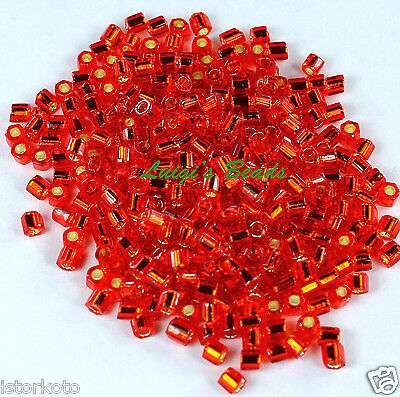 8/0 Hex TOHO Japanese Glass Seed Beads #25B-Silver-Lined Siam Ruby 15g