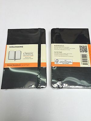 "Two Moleskine Classic Notebooks Ruled Black Hard Cover (3.5 X 5.5) ""NEW"""