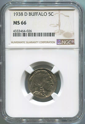 1938 D Buffalo Nickel, NGC MS66