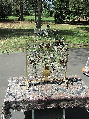 Antique Floral Wrought Iron Figural Fireplace Firescreen