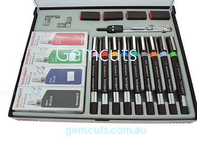 Technical Drawing Pen - Set Of 9 - With Compass And Inks