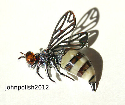 Gorgeous Baltic Amber Brooch Wasp with Silver 925